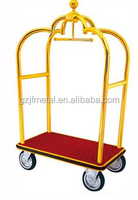 Luxurious Golden Piping Structure Heavy Duty Trolleys Baggage Carts