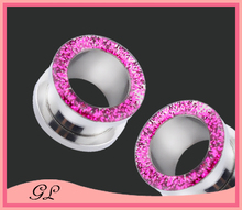 Sharp light pink drop oil body jewelry piercing plug ear gauge tunnel