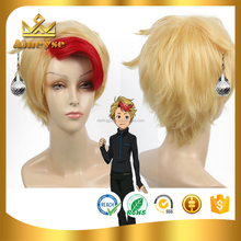 Minami Cosplay Wigs Short Red Highlight in Gold Hairs for Halloween Party