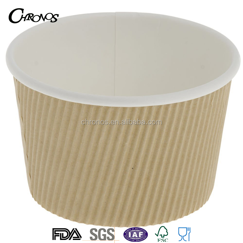 12oz 16oz double wall ripple kraft paper soup cup