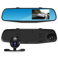 "4.3"" Blue Glass dual lens dashboard car dvr rear view camera video recorder car front and rear camera"