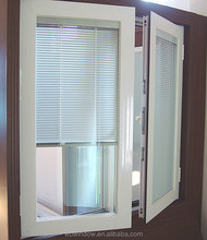 Aluminum blind inside PVC double glass window,double glazed windows with blinds