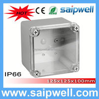 2014 saipwell High quality 125*125*100MM din rail plastic enclosure with Transparent Cover