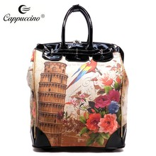 Canvas with print Fashion trolley Luggage with 2 wheels and 2 feet