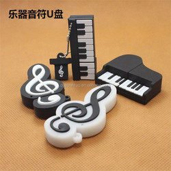 Music customized design PVC promotion gift usb 2.0 16gb flash memory