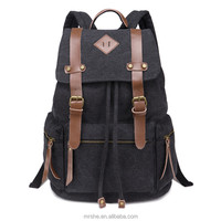Guangzhou Bag Manufacturer Wholesale Hiking Camping Guangzhou canvas leather Backpack with Leather