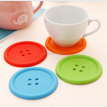 Wholesale New Design Siicone Coaster /Button Shape Silicone Cup Mat