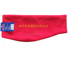 winter fashion sport men ladies gilrs 100% polyester head band factory black red grey color elastic polar fleece head band