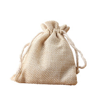 PP double drawstrings exquistie handmade linen pouch