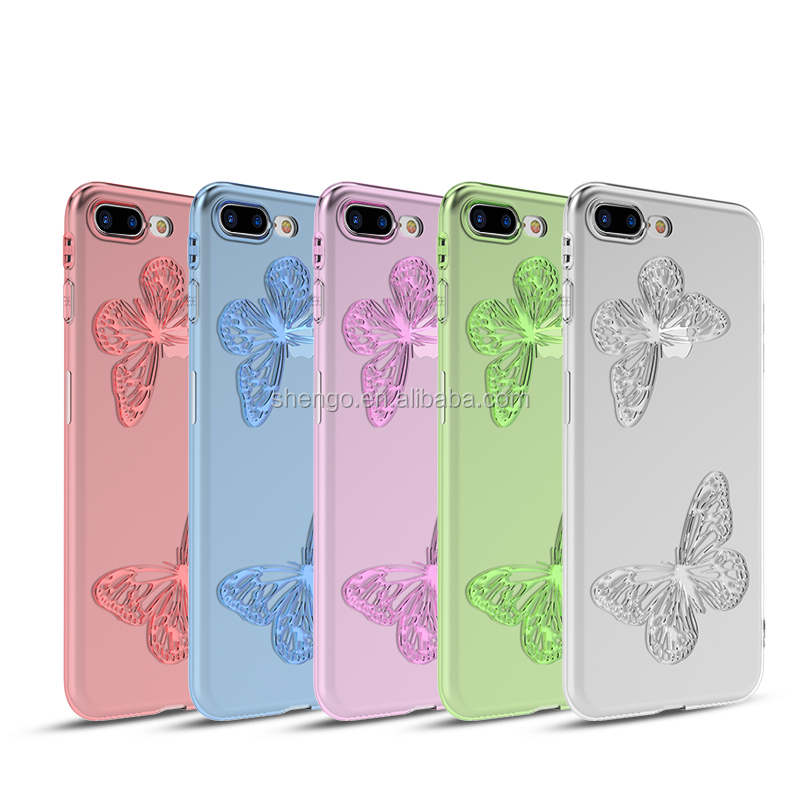 Shengo New Arrival Colorful Butterfly Soft Flexible TPU Transparent Mobile Phone Case <strong>Cover</strong> for iPhone 7