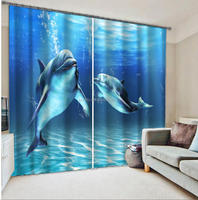 2016 latest 3d digital blackout curtains dolphin printing curtains for kids living room
