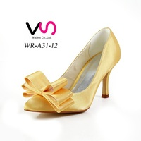 Many colors pointy shoe toe handmade dyeable satin wedding bridal shoes