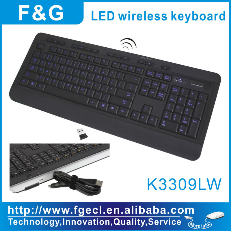 backlight wireless keyboard with led auto-on/off power saving function