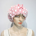 Pink customized shower cap with elastic