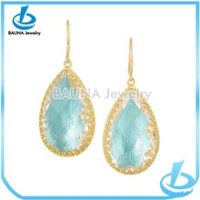 Wholesale fashion sky blue fancy hoop large drop earrings