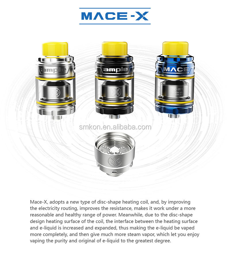 2018 new products vape Ample Mace X Sub Ohm Tank with 2/3.7/5.7ML Capacity