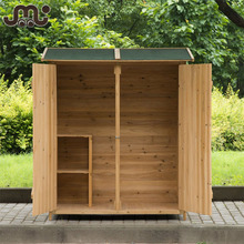 Double door small wood garden tool house