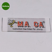 Colorful Name Custom Loop Fold Shuttle Loom Stain Woven Label for Clothing