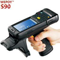 UHF long range handheld rfid reader barcode scanner pda under Win CE OS with Bluetooth/WiFi/Barcode function