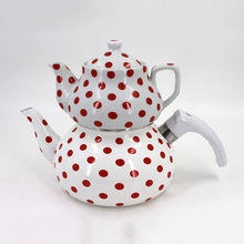 High quality full deccal flower printing turkish double tea pot kettle set enamel kettle