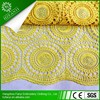 100% Polyester african cord lace fabric/fancy guipure Lace yellow color with rhinestones for party FY3002