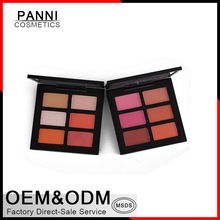 OEM professional face makeup 6 color blush palette with out plastic