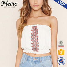 Lady White Summer OEM Made Embroidered Tube Crop Top