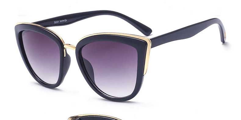 2018 new fashion women's sunglasses cat eye sun glasses dazzling color gold and plastic sunglasses uv400 protection eyewear