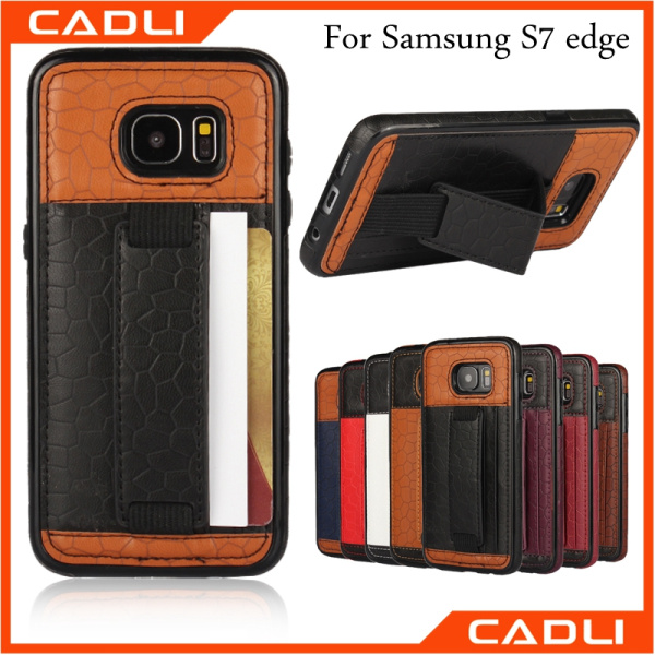 Hand Grip case with cards holder case TPU leather protective grip for Samsung Galaxy S7 edge phone holder