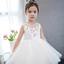 Party Princess Costume for 6 year Old Girl Appliqued Floral White Fashion Showlands Dresses Kids
