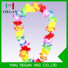 Wholesale promotion party decoration hawaii flower necklace leis polyester
