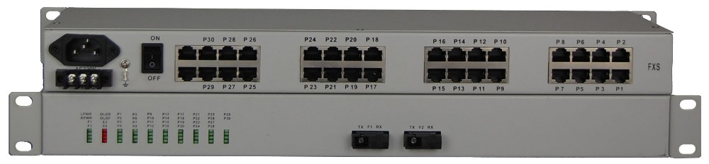 30 channel telephone POTS ( FXO FXS ) over fiber optical multiplexer