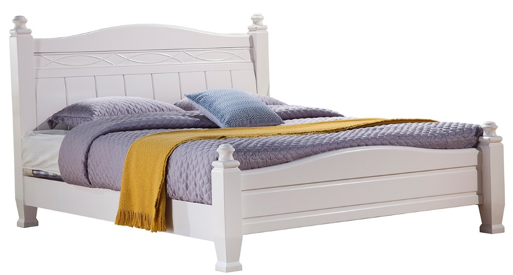 Simple solid wood bedroom furniture white double bed designs 3101