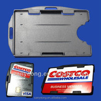 2 cards Two-sided Plastic Badge ID credit card holder_Multi card holder,Rigid name card holder, horizontal and vertical