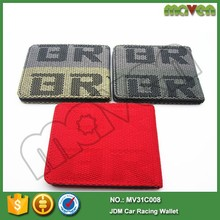 JDM VERSION Promotional Graduation Material Racing Canvas Seat Fabric Money Clip Car Leather Bride <strong>Wallet</strong> MV31C008
