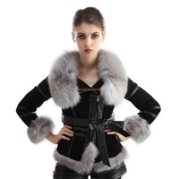 FA43 2016 new import ladies clothing integral skin fo fur coat fur coat zipper with belt