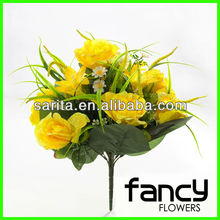 24 cabeza amarilla artificiales decoracion wedding bouquet <span class=keywords><strong>de</strong></span> <span class=keywords><strong>rosas</strong></span> y lirios