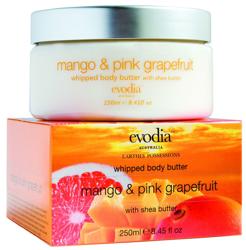 Evodia Mango & Pink Grapefruit Whipped Body Butter 250ml (Luxury) Australian Made Fresh & Vibrant