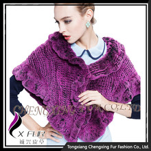 CX-B-128A Alibaba China Supplier Knitted Rabbit Fur Women's Shawl/ Poncho