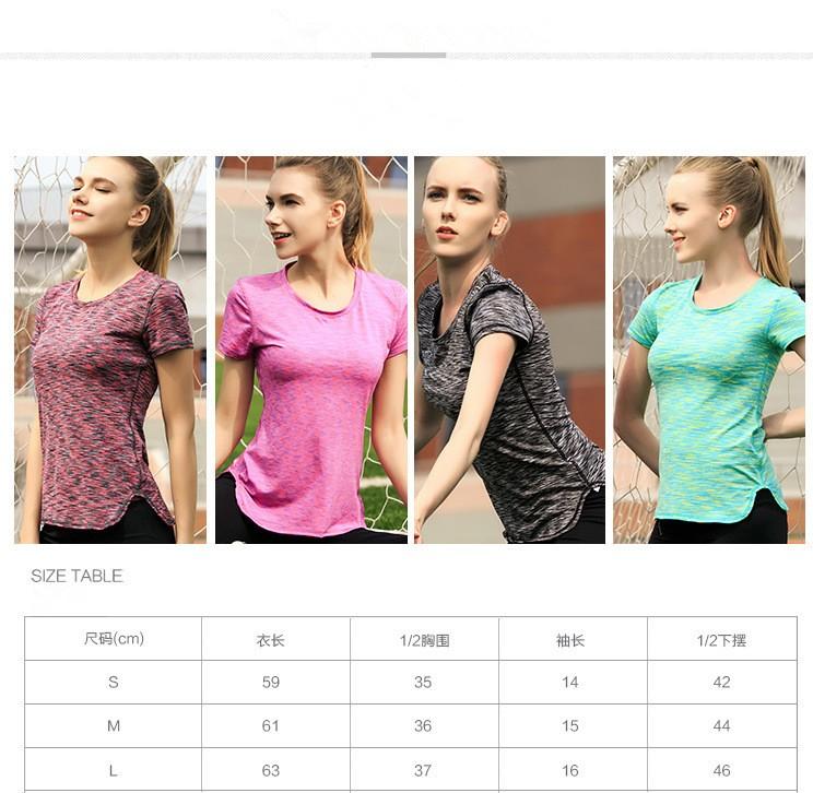 Polyester Spandex Short Sleeve Sexy Yoga Custom Women T Shirt 5