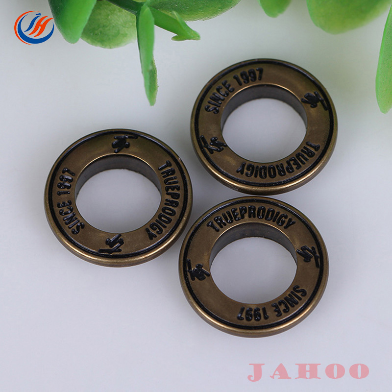 Custom Logo Flat Surface Curly Edgerim Metal Eyelets Grommets For Garments Use