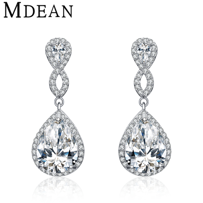 MDEAN White Gold Plated drop <strong>earrings</strong> for women AAA Zircon pendientes mujer moda Jewelry boucle d'oreille women <strong>earrings</strong> MSE059