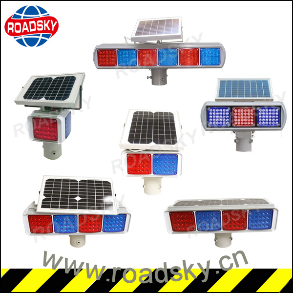 Road Red and Blue Solar Flashing LED Strobe Light
