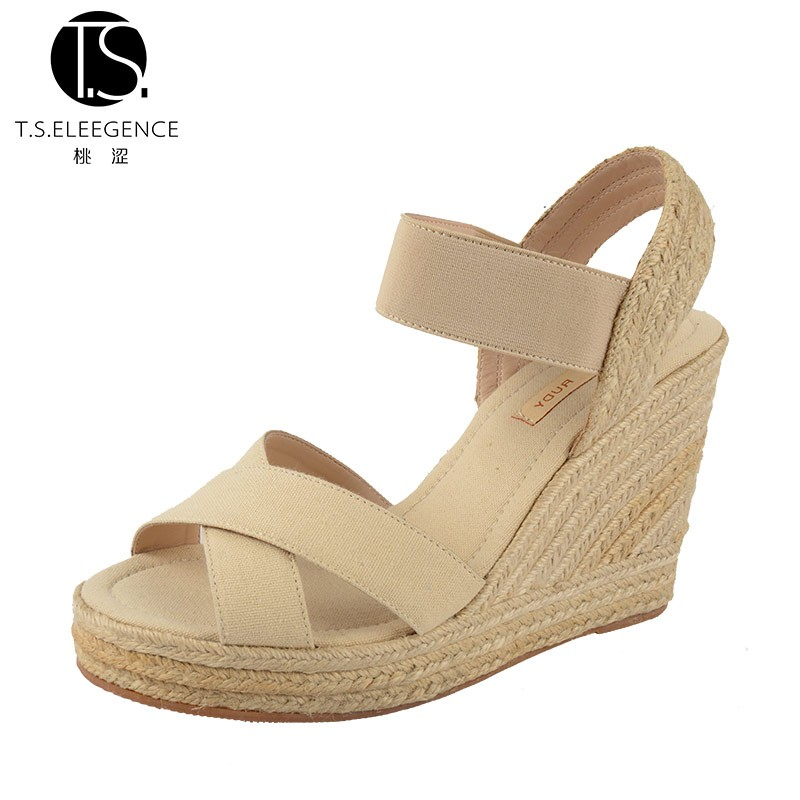 2016 New Fashion fancy Latest Model Summer Cross-strap Canvas High Heel Woman Wedge Sandals Shoes for Women