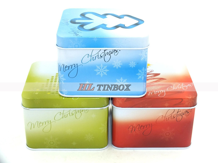Christmas Square Candy Gift Tin Cans