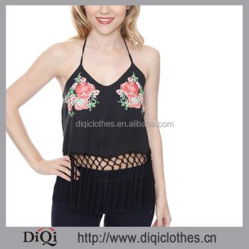 2017 Latest Fashion Top Wholesale Rose Embriodered Frunge Halter Deep V Neckline Tassel Hemline Black Spaghetti Straps Tank Top