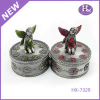 New Product HX-7329 Round Angel Pewter Metal Camel Trinket Box