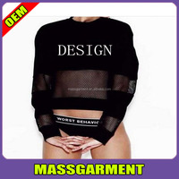 Fashion Custom blank mesh long sleeve plain crop Casualwear women t shirt