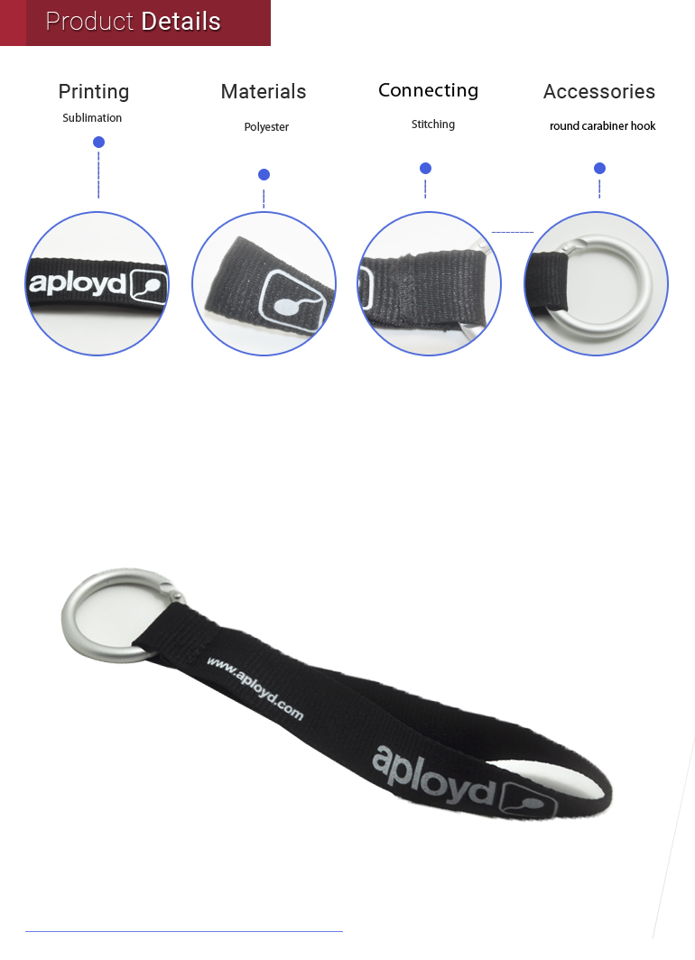 Special trendy round carabiner keychain short lanyards strap