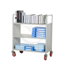 Knock Down Structure cold rooled steel 3 layer library book cart